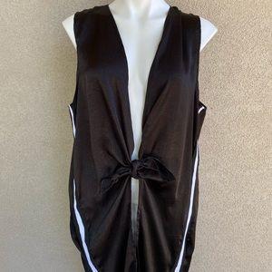 Bow Closure Sleeveless Long Duster Cardigan Vest